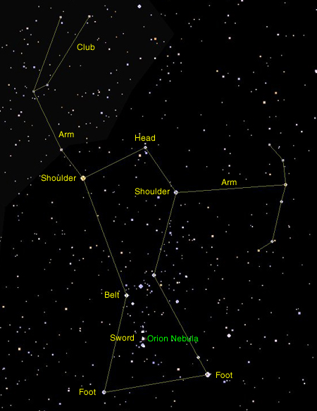 Image Gallery orion constellation star names