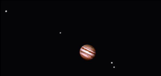 Jupiter and its four large moons