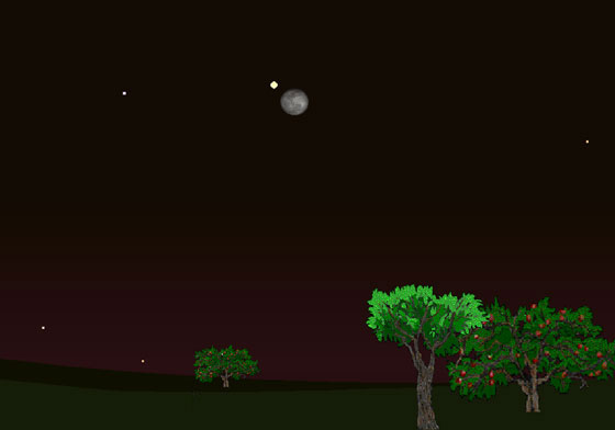 Jupiter will appear near the Moon tonight.