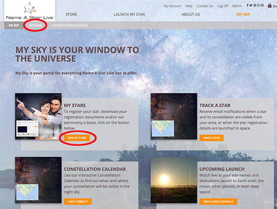 My Sky webpage