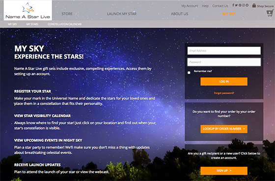 My Sky login page