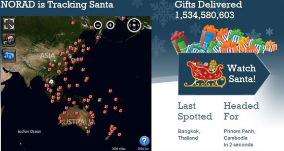 NORAD Santa tracking display