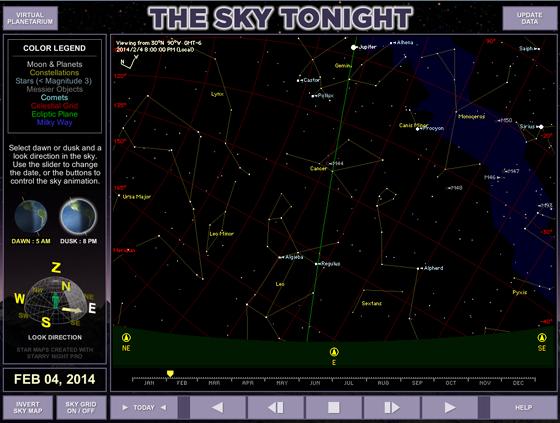 Virtual Planetarium Sky Tonight module