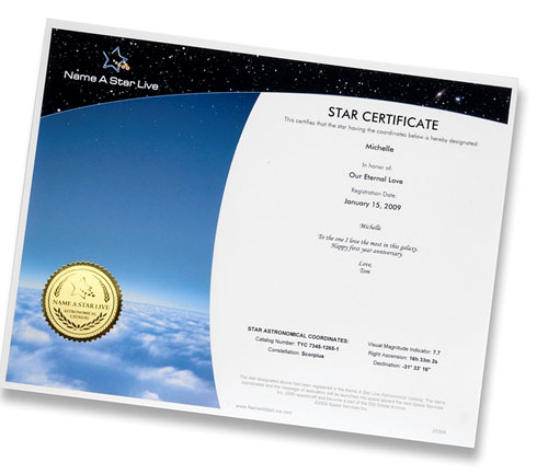 Star Certificate