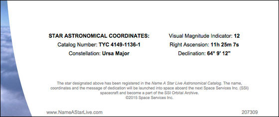 Star Astronomical Coordinates