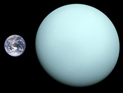 Relative sizes of Earth and Uranus